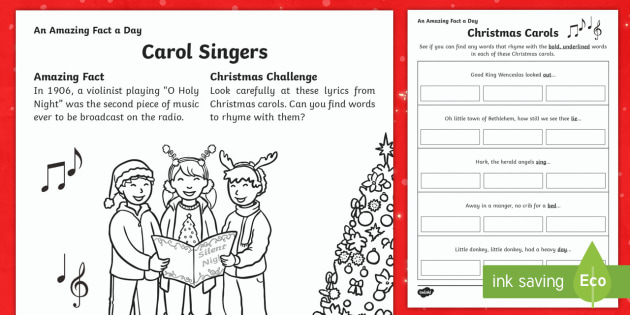 Christmas Carols Activity Sheet - Amazing Fact Of The Day, activity sheets, powerpoint, starter, morning activity, December, Christmas