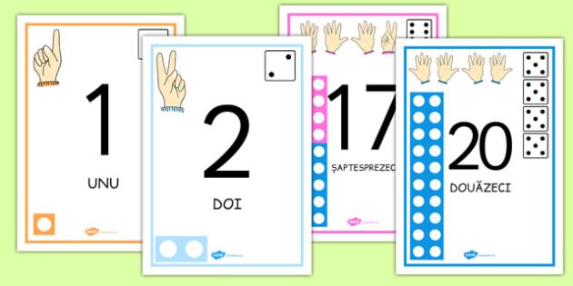 Numerele 0-20 ilustrate - degete, unicom, monede, cifre, litere