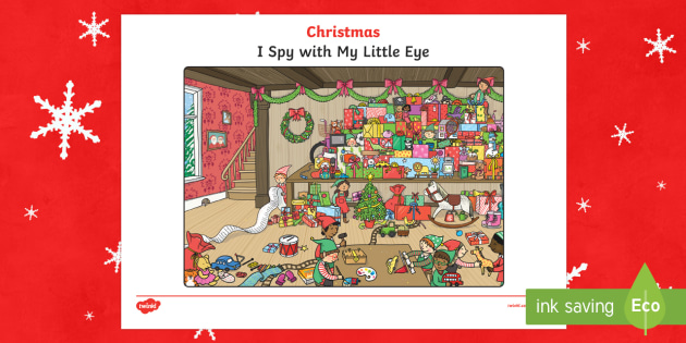 Santa's Workshop Christmas I Spy Activity