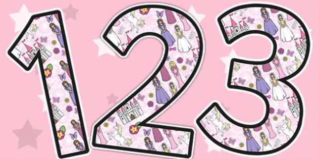Princess Themed A4 Display Numbers - display, numbers, princess