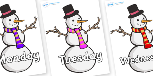 Days of the Week on Snowmen - Days of the Week, Weeks poster, week, display, poster, frieze, Days, Day, Monday, Tuesday, Wednesday, Thursday, Friday, Saturday, Sunday