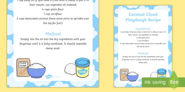 Coconut Cloud Playdough Recipe - playdough, recipe, coconut, cloud