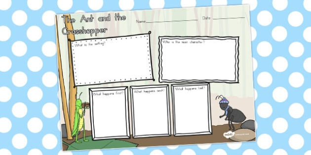 The Ant and the Grasshopper Story Review Writing Frame - frames