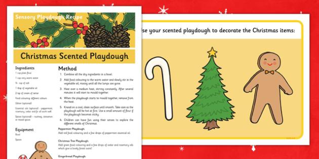 Christmas Scented Sensory Playdough Recipe and Mat - christmas, pudding, sensory, playdough, recipe
