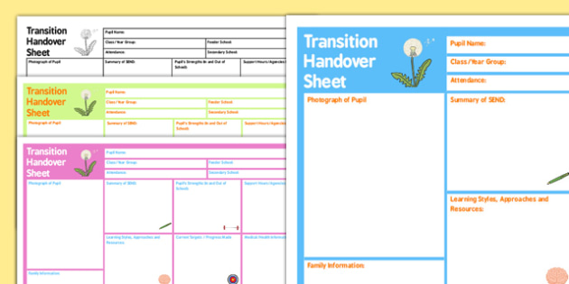 SEN Transition Handover Sheet - australia, sen, transition, handover, sheet