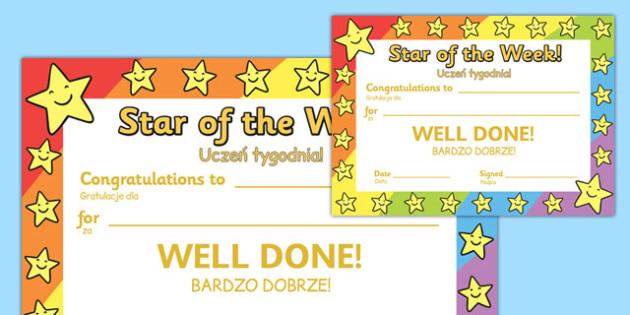 Star of the Week Award Certificate Polish Translation - polish, star of the week, award, certificate