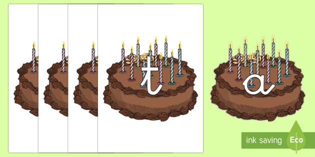 Tarjetas de fonemas: Pasteles de cumpleaños - lecto, leer, primeros sonidos, comida, cumpleaños