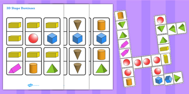 3D Shape Dominoes - 3d, shapes, dominoes, game, activity, shape