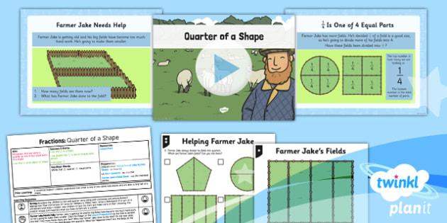 PlanIt Y1 Fractions Lesson Pack Quarters (1) - planit, fractions, year 1, maths, lesson pack, quarters, 1