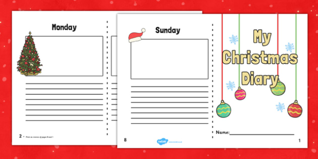 Christmas Holiday 7 Day Diary Writing Frame - christmas, holiday, 7 day, diary, writing frame