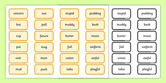 Alternative Pronunciation of U Sorting Game Southern Version - phonics, phase 5, phase 5 DfE, letters and sounds