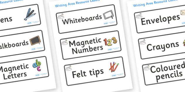 Swan Themed Editable Writing Area Resource Labels - Themed writing resource labels, literacy area labels, writing area resources, Label template, Resource Label, Name Labels, Editable Labels, Drawer Labels, KS1 Labels, Foundation Labels, Foundation S