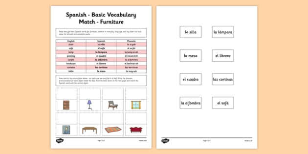 Spanish Basic Vocabulary Match Furniture - spanish, basic, vocabulary, match, furniture