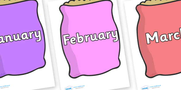 Months of the Year on Bags - Months of the Year, Months poster, Months display, display, poster, frieze, Months, month, January, February, March, April, May, June, July, August, September