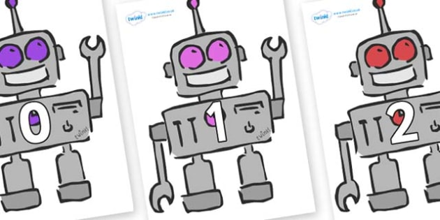 Numbers 0-31 on Robots - 0-31, foundation stage numeracy, Number recognition, Number flashcards, counting, number frieze, Display numbers, number posters