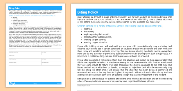 Childminder Biting Policy - sheet, policy, child minder, biting