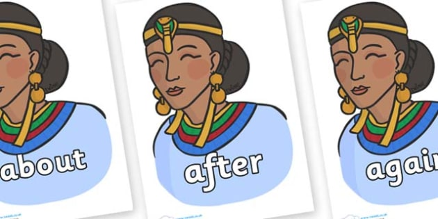 KS1 Keywords on Egyptian Women - KS1, CLL, Communication language and literacy, Display, Key words, high frequency words, foundation stage literacy, DfES Letters and Sounds, Letters and Sounds, spelling