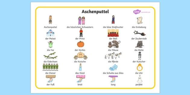 Cinderella German Word Mat