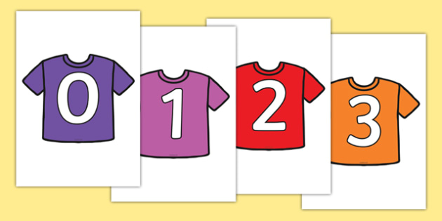 Numbers 0-31 on T-Shirts - 0-31, foundation stage numeracy, Number recognition, Number flashcards, counting, number frieze, Display numbers, number posters