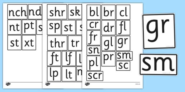 Phase 4 Blends Tiles - phase 4, blends, tiles, frames, letters, phase