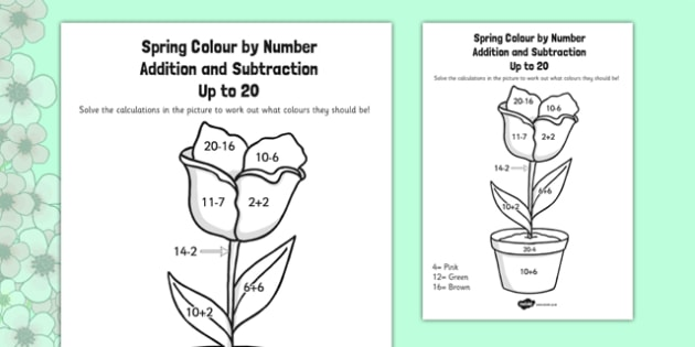 Spring Colour by Number Addition and Subtraction Up to 20 - 20