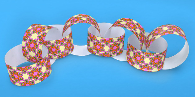 Rangoli Pattern Paper Chain - hinduism, hindu, crafts, art, DT