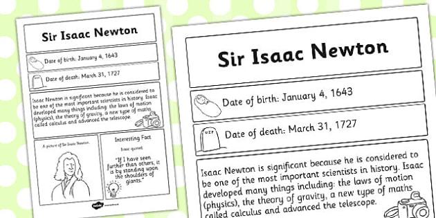Sir Isaac Newton Significant Individual Fact Sheet - fact sheet