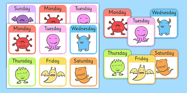 Monster Days of the Week Snap Game - monster, days of the week, snap game, snap, game, activity