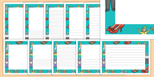 The Elves and the Shoemaker Page Borders - Traditional tale, tales, elves, elf, shoemaker, page border, border, writing template, writing aid, writing, wife, stitch, leather, danced, shirt, needle, thread, socks, trousers, shoes, workshop, story, fai