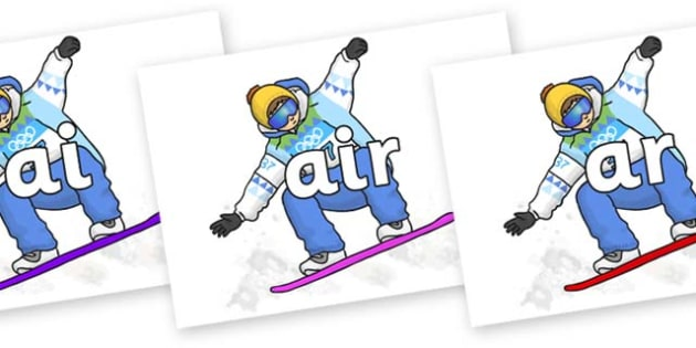 Phase 3 Phonemes on Snowboarding - Phonemes, phoneme, Phase 3, Phase three, Foundation, Literacy, Letters and Sounds, DfES, display