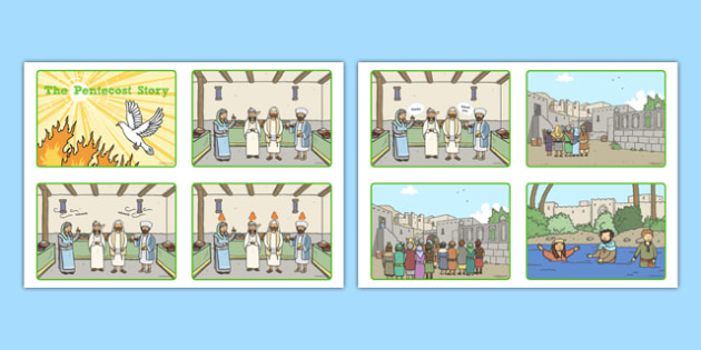 Pentecost Story Sequencing Cards - Pentecost, Whit, Whitsun, ascension, sequencing cards, story retelling
