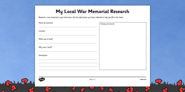 Local War Memorial Research Worksheet - australia, ANZACs, First World War, WW1, World War One, History, research, memorial, local