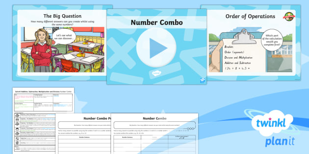 PlanIt Y6 Addition, Subtraction, Multiplication and Division SolveIt Lesson Pack Number Combo - number combinations, addition, subtraction, multiplication, division, number sentence, probability,