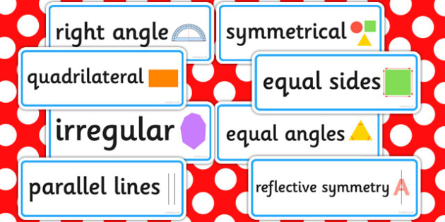Properties of 2D Shapes Word Cards - 2d, shapes, word, cards
