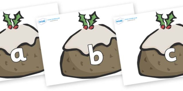 Phase 2 Phonemes on Christmas Puddings - Phonemes, phoneme, Phase 2, Phase two, Foundation, Literacy, Letters and Sounds, DfES, display
