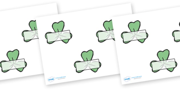 Self Registration (on Clovers) - clovers, leaves, Self registration, register, editable, labels, registration, child name label, printable labels