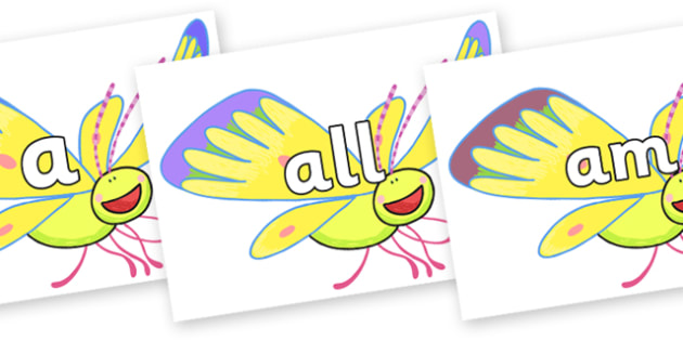 Foundation Stage 2 Keywords on Yellow Butterfly to Support Teaching on The Crunching Munching Caterpillar - FS2, CLL, keywords, Communication language and literacy,  Display, Key words, high frequency words, foundation stage literacy, DfES Letters an