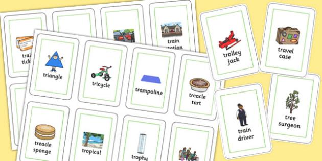 Three Syllable 'TR' Flash Cards - tr sound, syllable, flash cards, sound
