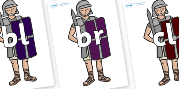 Initial Letter Blends on Roman Legionaries - Initial Letters, initial letter, letter blend, letter blends, consonant, consonants, digraph, trigraph, literacy, alphabet, letters, foundation stage literacy