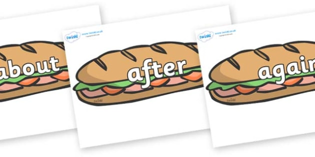 KS1 Keywords on Sandwiches - KS1, CLL, Communication language and literacy, Display, Key words, high frequency words, foundation stage literacy, DfES Letters and Sounds, Letters and Sounds, spelling