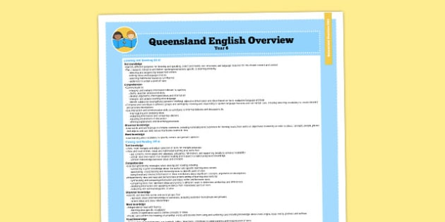 Queensland Curriculum Year 6 English Literacy Syllabus Overview - australia