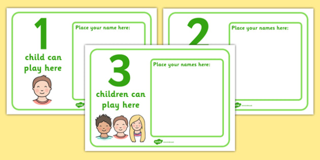 How Many Can Play Here Name Posters - Display, poster, classroom area display, how many can, child self management