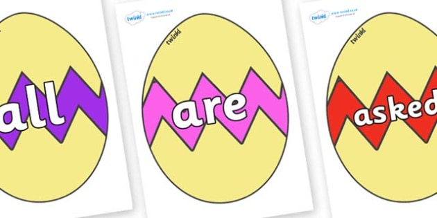 Tricky Words on Easter Eggs (Cracked) - Tricky words, DfES Letters and Sounds, Letters and sounds, display, words