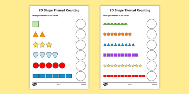 2D Shape Themed Counting Activity Sheet - 2d shape, counting, count, activity, worksheet