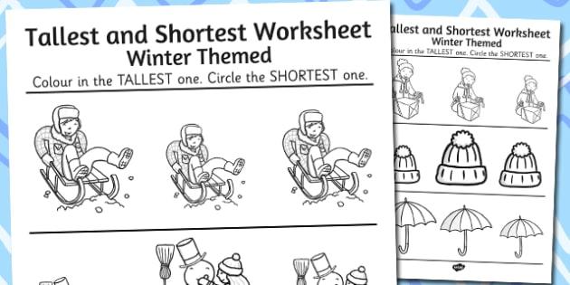Winter Themed Tallest and Shortest Worksheets - winter, worksheet