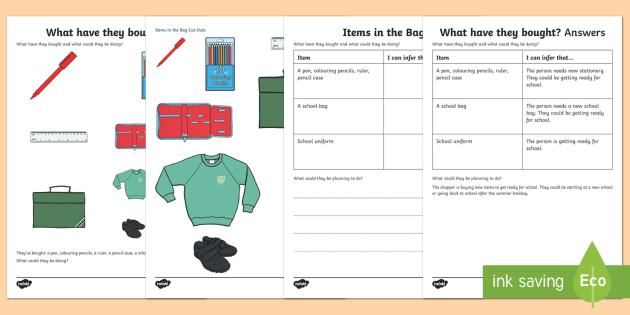 What Have They Bought? (3) Inferences Activity Sheet - drawing inferences, autism, ASD, Asperger's, receptive language, pragmatics, worksheet, sen, SALT,