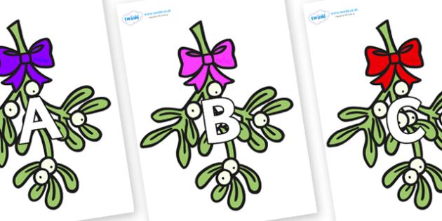 A-Z Alphabet on Mistletoe (Bells) - A-Z, A4, display, Alphabet frieze, Display letters, Letter posters, A-Z letters, Alphabet flashcards