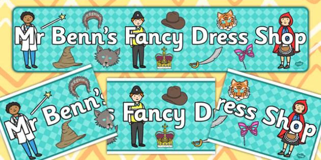 Mr Benn's Fancy Dress Shop Display Banner - Dressing up, shop, fancy dress, costume, fancy dress role play