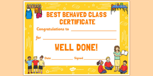 Best Behaved Class Reward Certificate - best, behaved, class, reward, certificate
