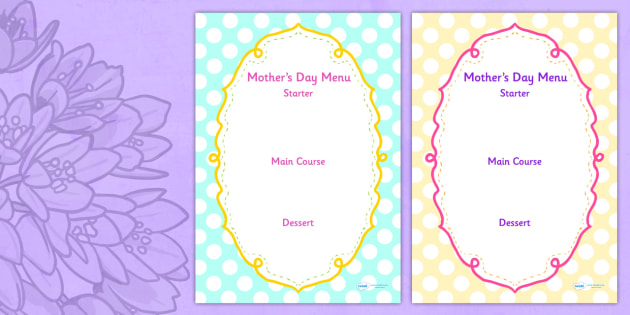 Mothers Day Menu Template - mothers day, menu, template, writing